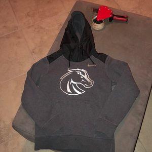 Gray Boise State sweatshirt with rain hoodie